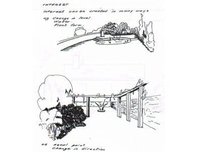 Sketch showing interest in garden