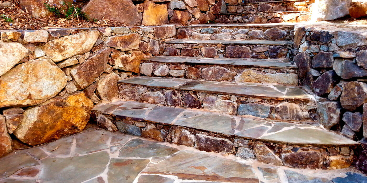 Stair built from stone