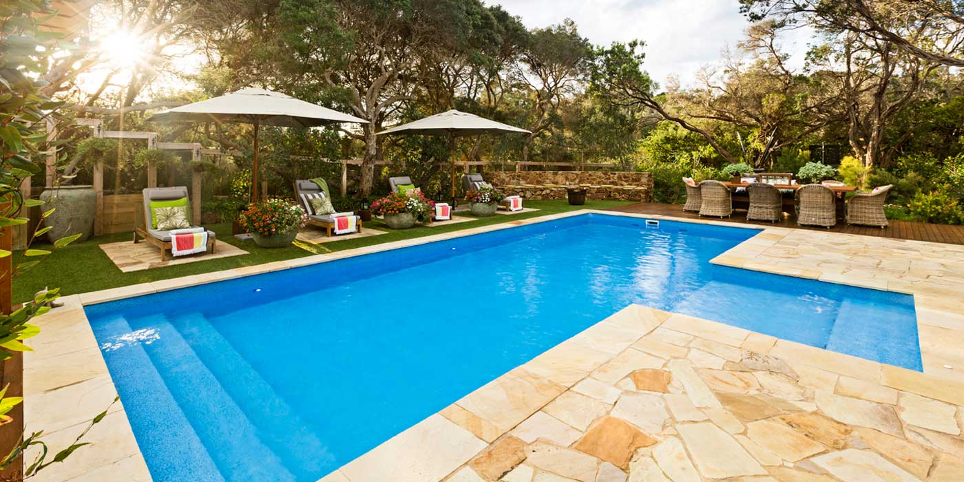 Swimming Pool with stone paving